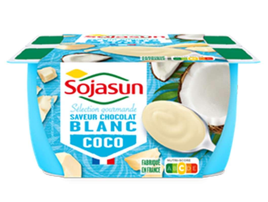 Dessert végétal au lait de coco saveur Chocolat Blanc, Sojasun (4 x 100 g)