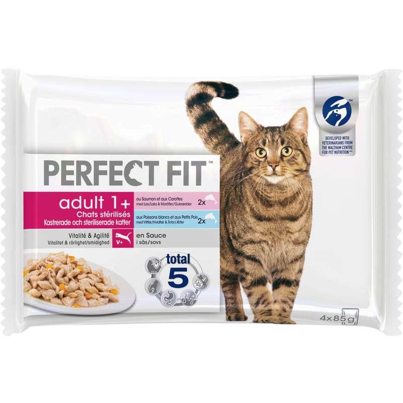 Sachet au poisson pour chat stérilisé, Perfect Fit (4 x 85 g)