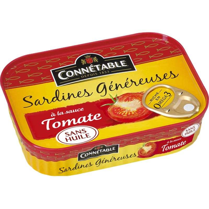 Sardines Généreuses à la sauce tomate et sans huile, Connetable (140 g)