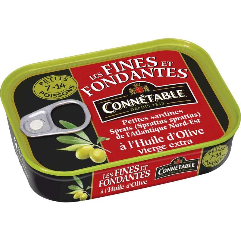 Petites sardines Les fines et fondantes à l'huile d'olive vierge extra, Connetable (106 g)