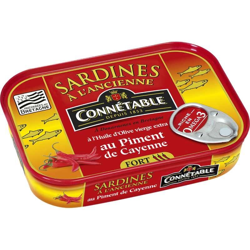 Sardines à l'huile d'olive et au piment de Cayenne, Connétable (115 g)