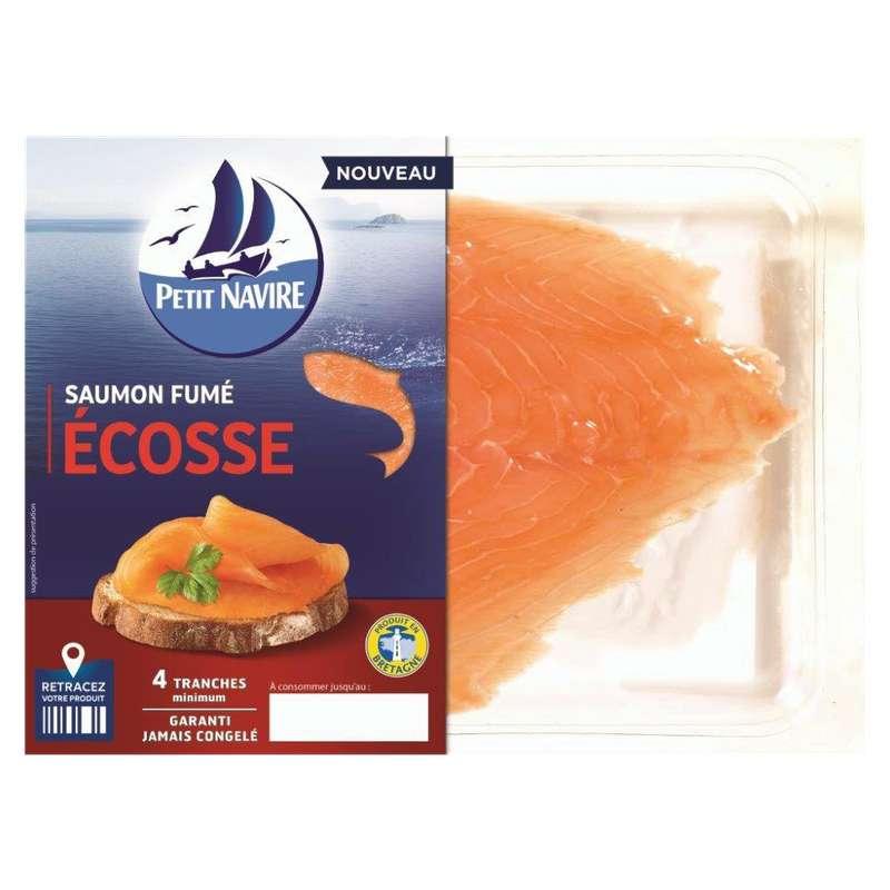 Saumon Atlantique élevé en Ecosse fumé, Petit Navire (4 tranches, 120 g)