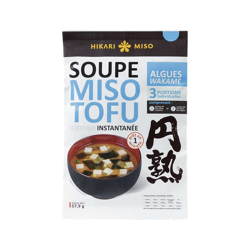 Soupe instantanée miso tofu et algues wakame, Hikaro Miso (58 g)