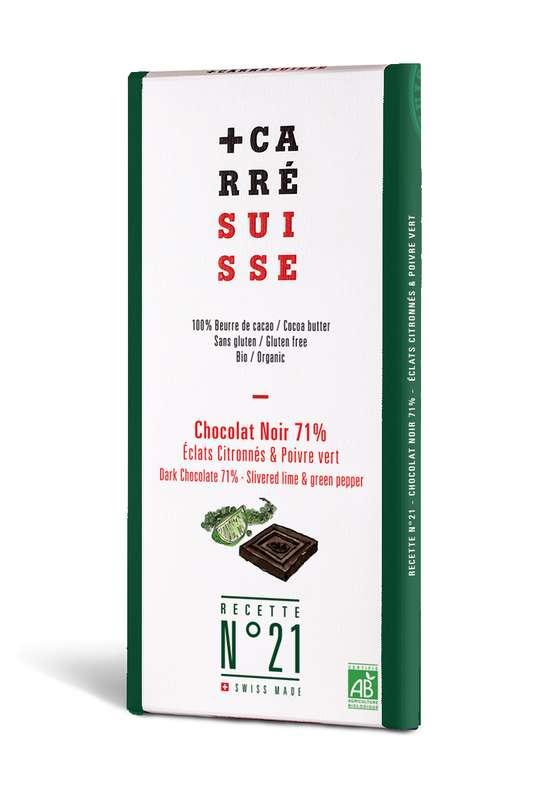 Chocolat noir 71%, éclats citronnés et  poivre vert BIO - Recette n°21, Carré Suisse (100 g)