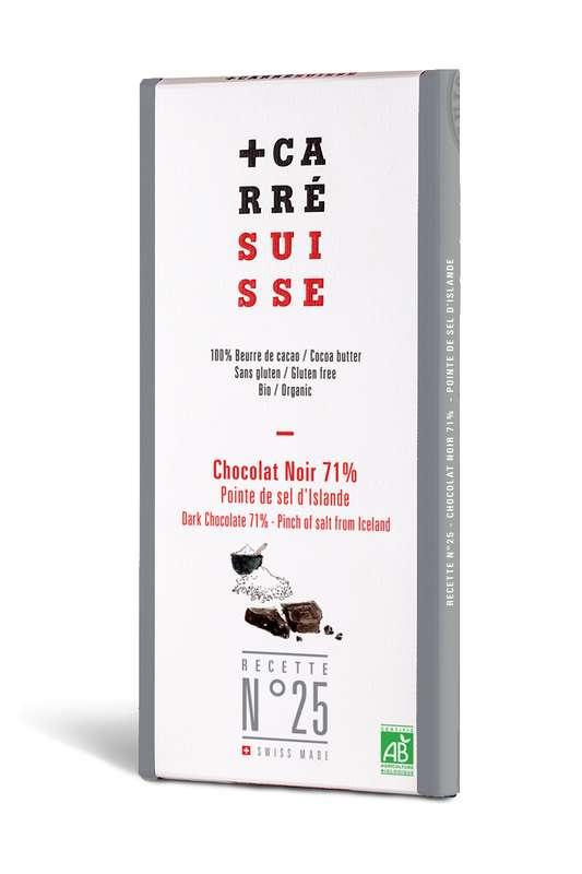 Chocolat noir 71%, pointe de sel d'Islande BIO - Recette n°25, Carré Suisse (100 g)