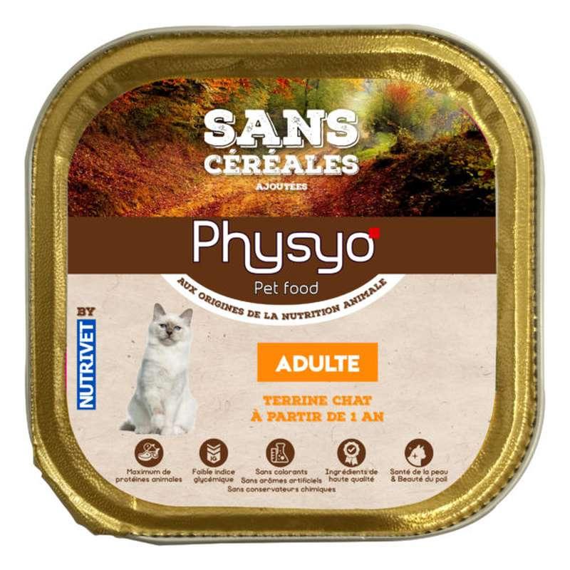 Terrine pour chat adulte sans céréales ajoutées, Physyo (100 g)
