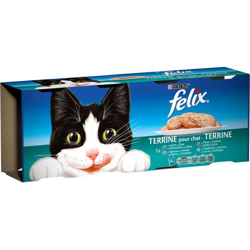 Terrines de viandes et poissons 4 variétés pour chats adultes, Felix (400 g)