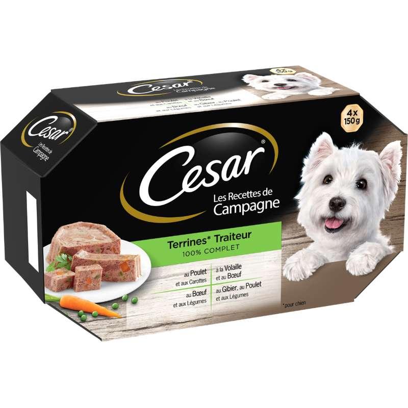 Terrines pour chien Recettes de campagne, Cesar (4 x 150 g)