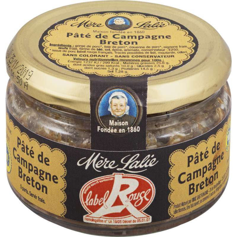 Véritable pâté de campagne Breton Label Rouge, Mère Lalie (200 g)
