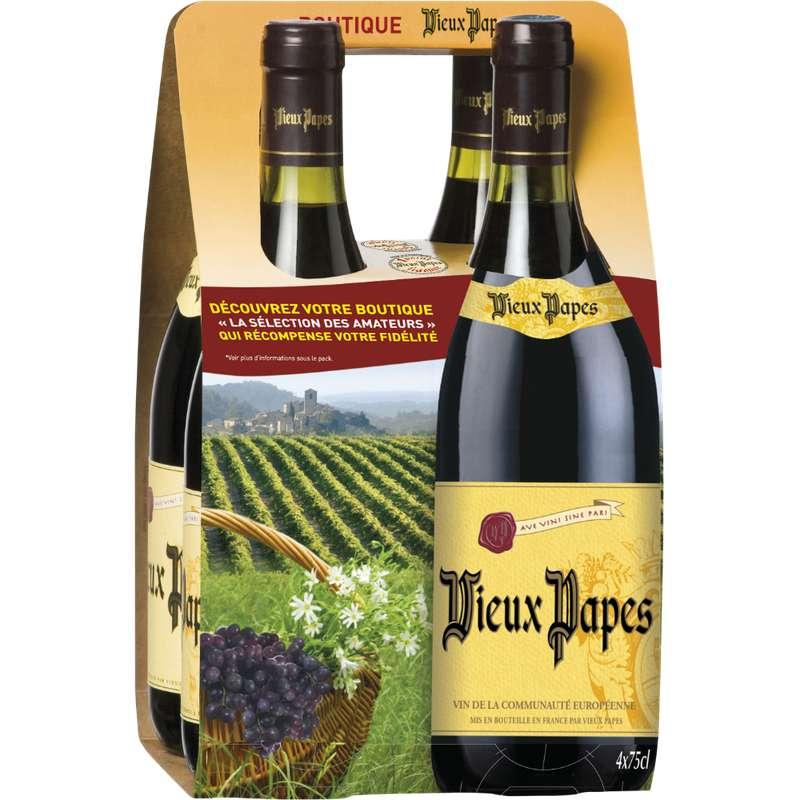 Vin rouge Communauté Européenne, Vieux Papes (4 x 75 cl)