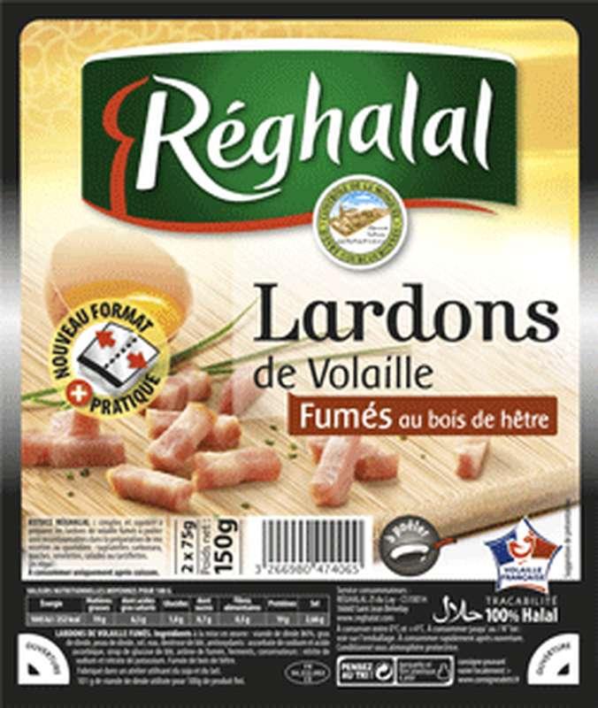 Lardons de volaille fumés Halal, Reghalal (2 x 75 g)