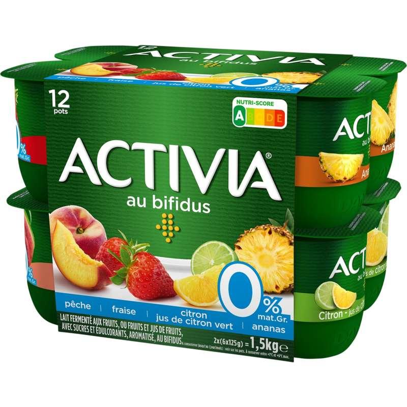 Yaourt aux fruits panaché au bifidus 0% de MG, Activia (12 x 125 g)