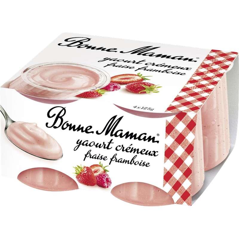 Yaourt crémeux fraise et framboise, Bonne Maman (4 x 125 g)