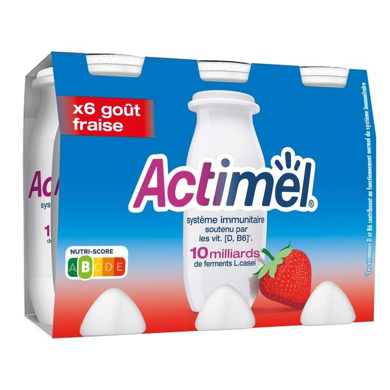 Actimel goût fraise, Danone (6 x 100 g)