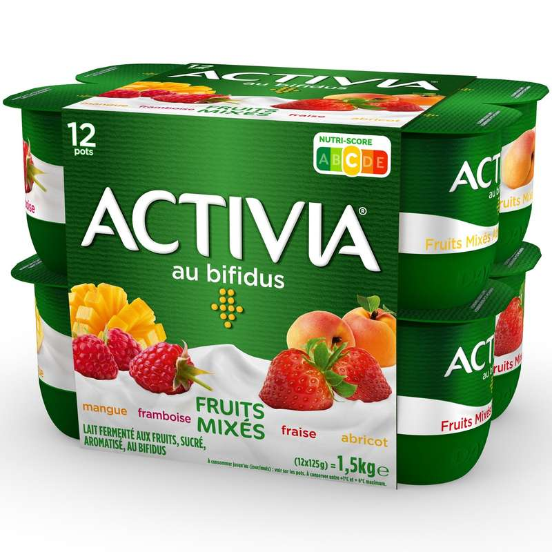 Yaourt panachés aux fruits Activia, Danone (12 x 125 g)
