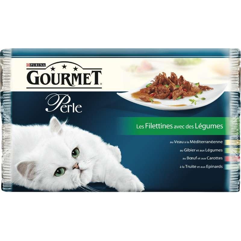 Gourmet Perle Les Filletines aux légumes, Purina (4 x 85 g)