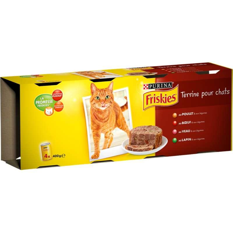 Terrines pour chat au poulet, veau, boeuf, lapin et légumes, Friskies (4 x 400 g)