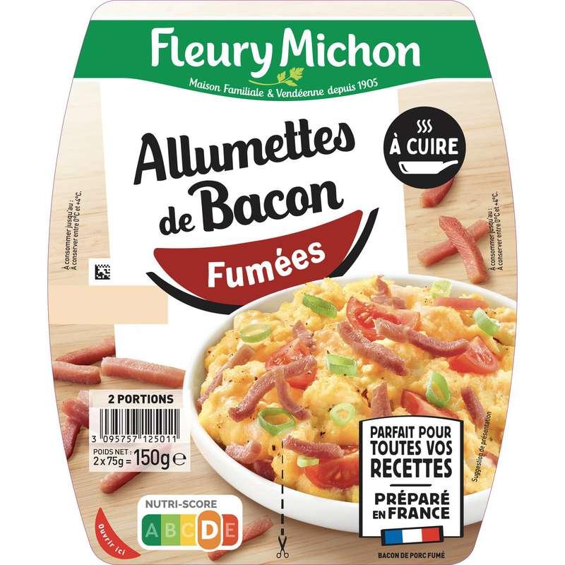Allumettes de bacon fumées à cuire, Fleury Michon (2 x 75 g)