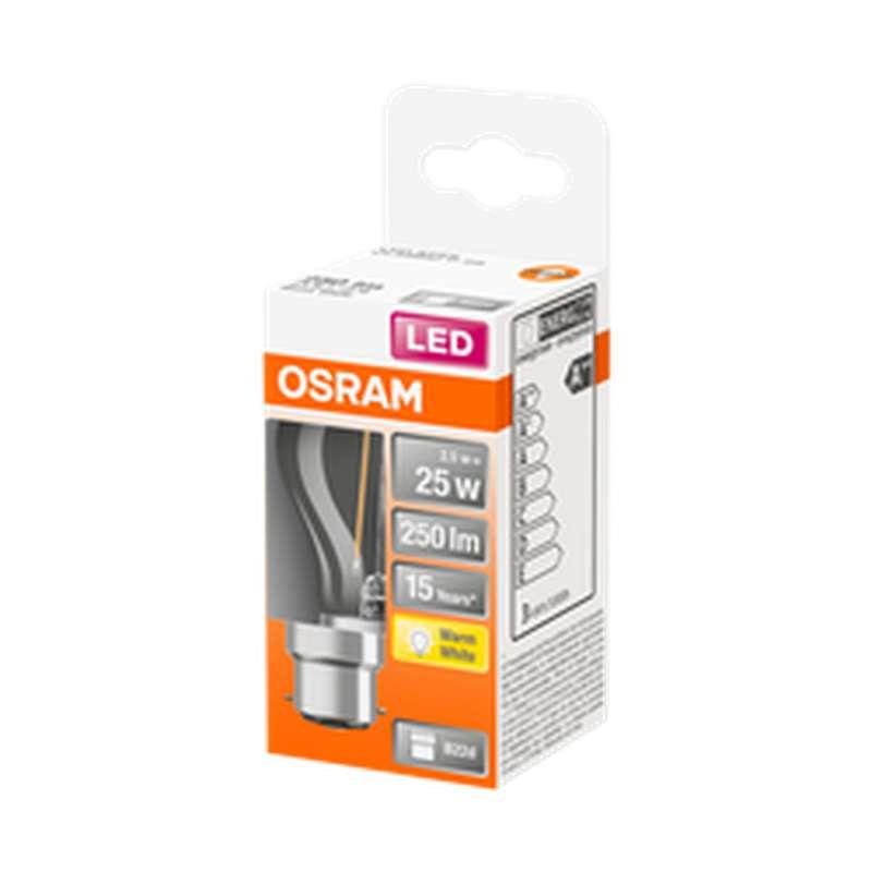 Ampoule sphérique LED à filament 25W culot à baïonnette B22 - blanc chaud, Osram (x 1)
