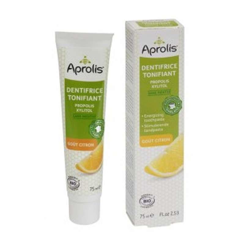Dentifrice tonifiant à la propolis et xylitol goût citron BIO, Aprolis (75 ml )