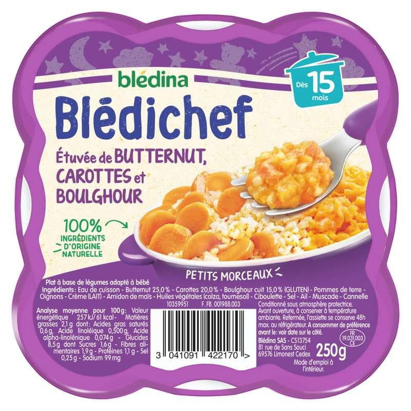 Blédichef assiette butternut, carotte et boulghour - dès 15 mois, Blédina (250 g)