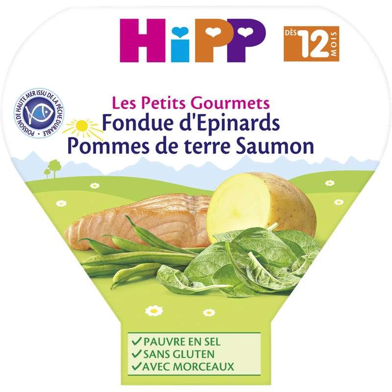 Les petits gourmets fondue d'épinards, PDT, saumon BIO - dès 12 mois, Hipp (230 g)