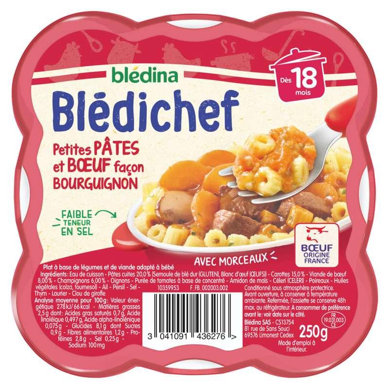 Blédichef assiette légumes petites pâtes boeuf façon bourguignon - dès 18 mois, Blédina (250 g)