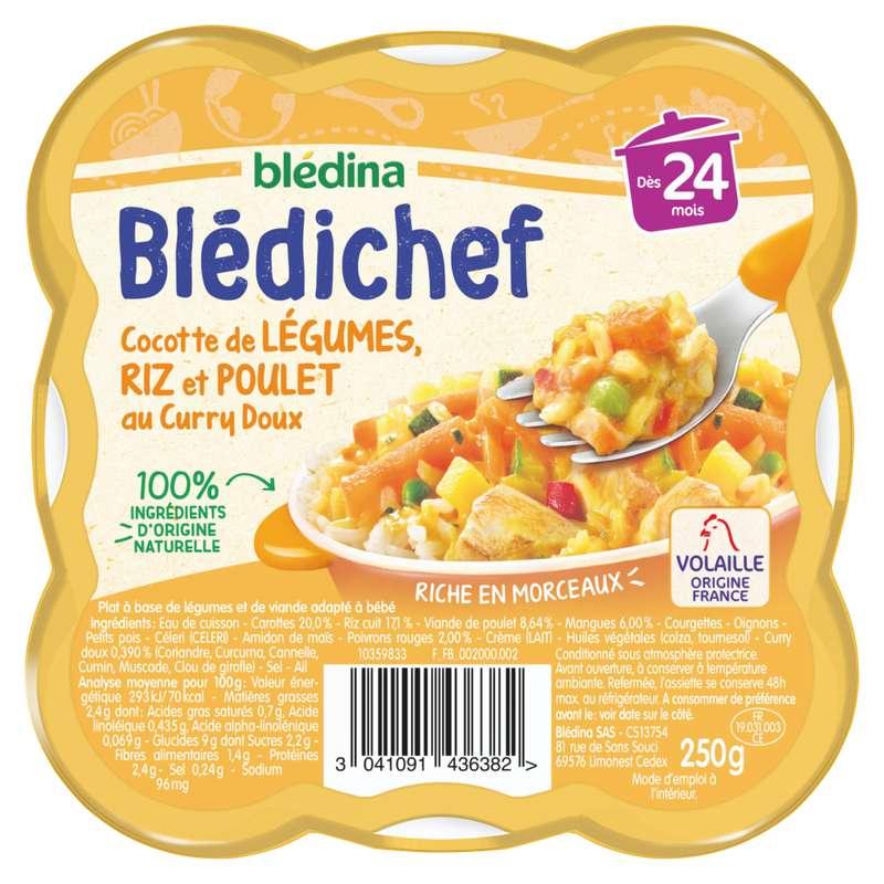 Blédichef cocotte de légumes, riz et poulet au curry doux - dès 24 mois, Blédina (250 g)