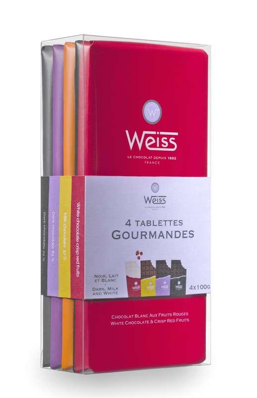 Assortiment 4 tablettes gourmandes chocolat noir lait et blanc, Weiss (400 g)