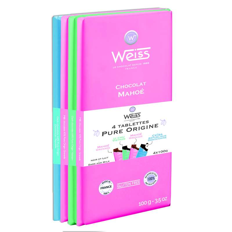 Assortiment 4 tablettes Pure Origine, Weiss (400 g)