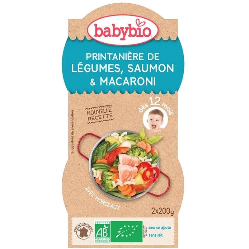 Bols printanière de légumes, saumon, macaroni BIO - dès 12 mois, Babybio (2 x 200 g)