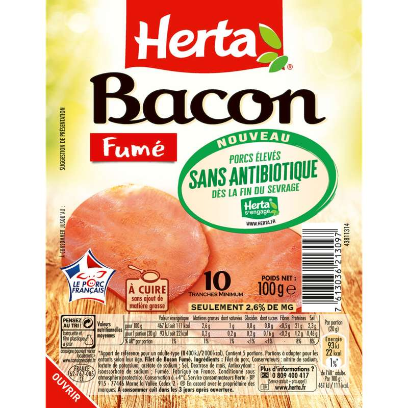 Bacon fumé sans antibiotique, Herta (10 tranches, 100 g)