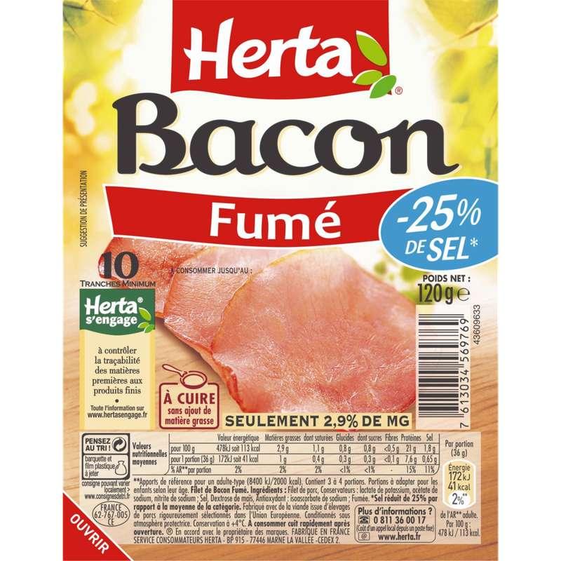 Bacon réduit en sel, Herta (10 tranches, 120 g)