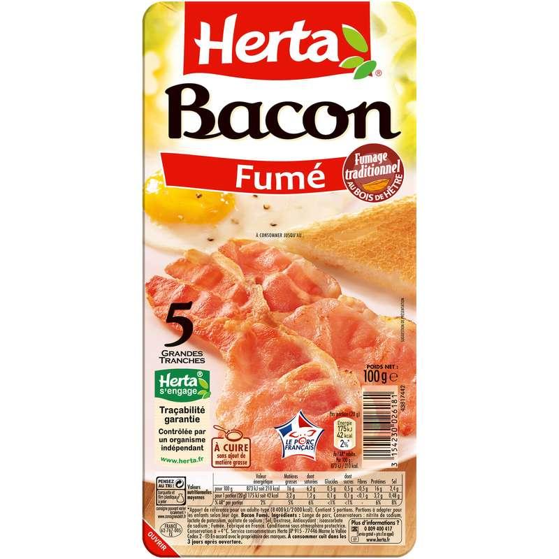 Bacon déjeuner, Herta (5 grandes tranches, 100 g)