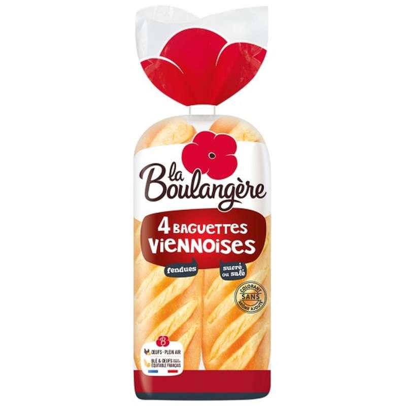 Baguette Viennoise fendue, La Boulangère (x 4, 340 g)