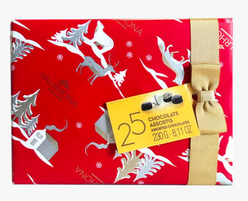 Ballotin Collection Noël de 25 chocolats assortis, Valrhona (230 g)