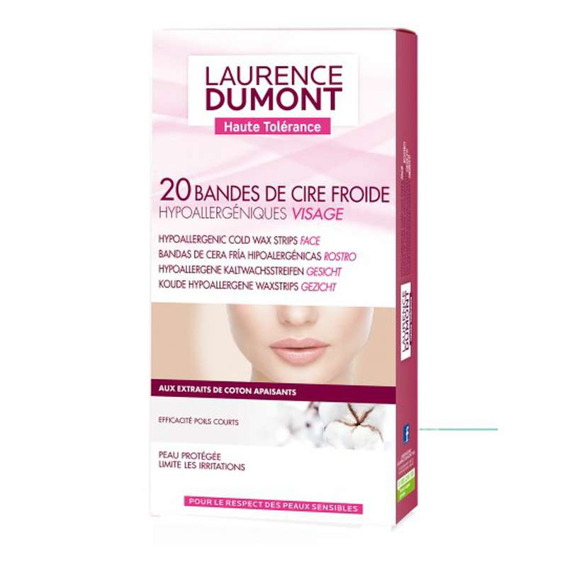 Bandes de cire froide hypoallergénique pour le visage, Laurence Dumont (x 20)