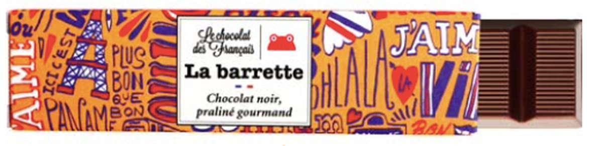 Barette Paris Noir Praliné Noisettes, Le Chocolat des Français (40 g)