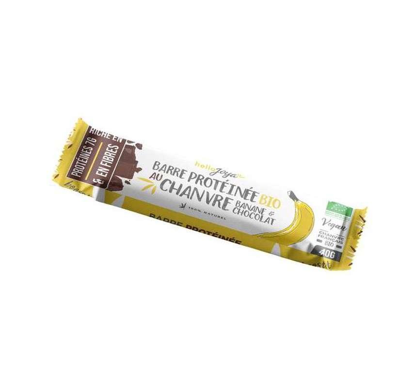 Barre protéinée au chanvre Banane et Chocolat BIO, Hello Joya (40 g)