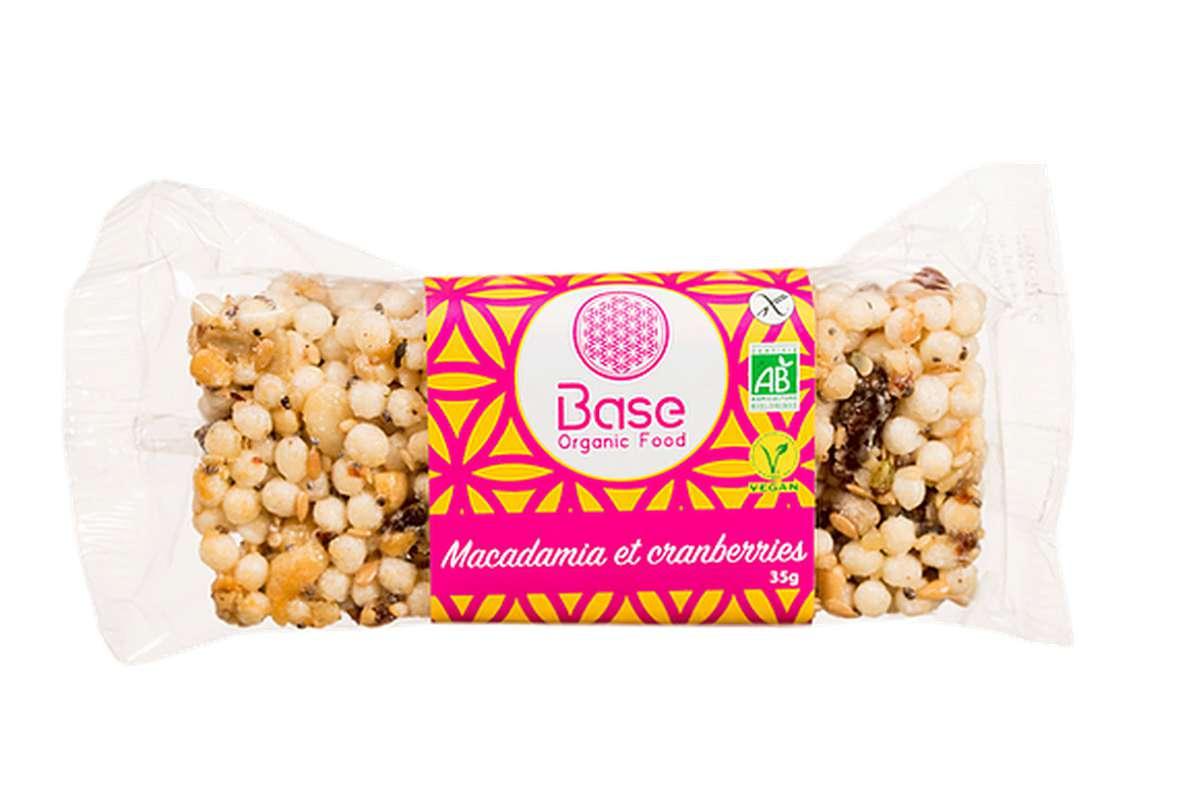 Barre sans gluten vegan Macadamia et Cranberries BIO, Base Organic Food (35 g)