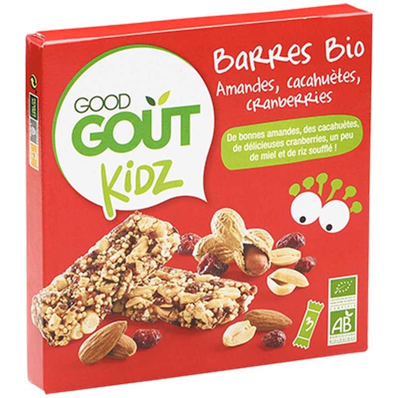 Barres amandes, cacahuètes, cranberries BIO - dès 3 ans, Good Goût Kid'z (3 x 20 g)