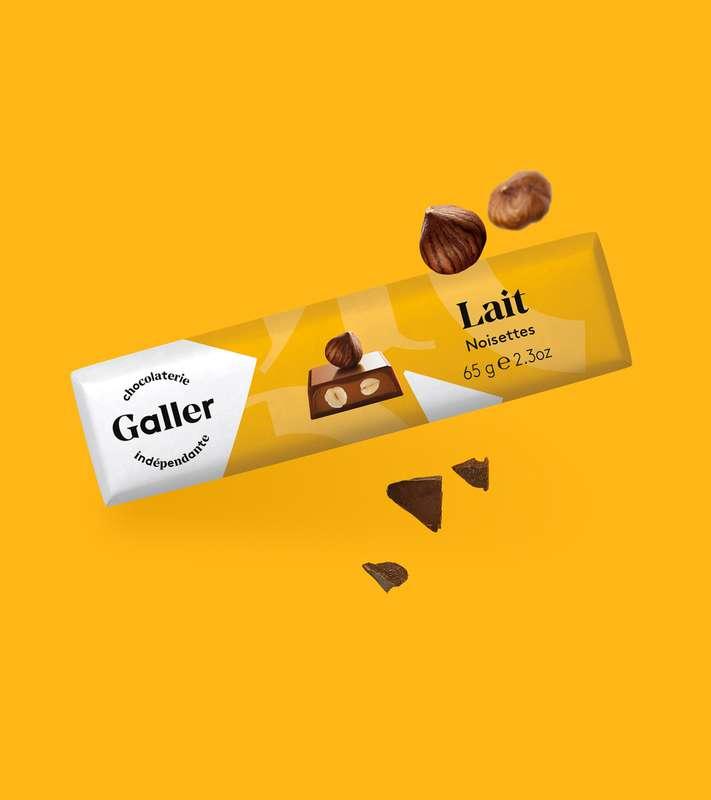 Bâton lait noisettes, Chocolat Galler (65 g)