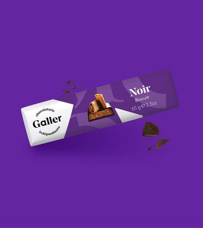 Bâton noir biscuit, Chocolat Galler (65 g)