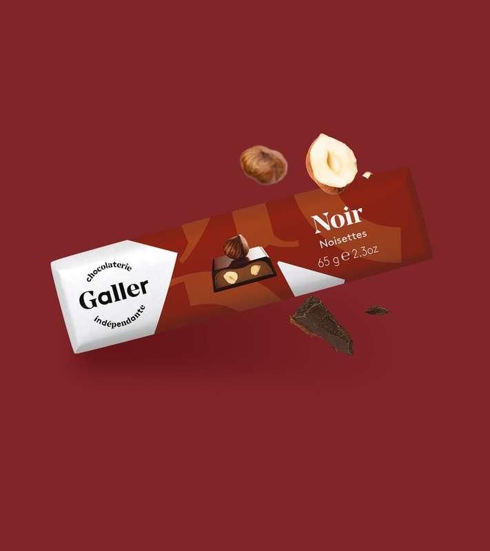 Bâton noir noisettes, Chocolat Galler (65 g)