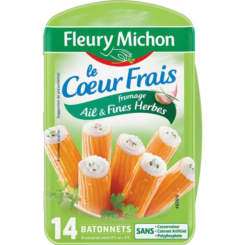 Bâtonnets de surimi Le Coeur Frais au fromage ail et fines herbes, Fleury Michon (x 14, 224 g)