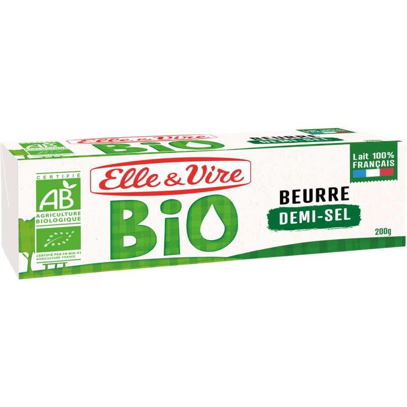 Beurre demi sel BIO,  Elle & Vire (200 g)