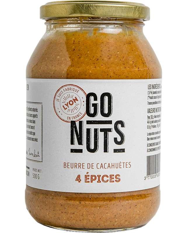 Beurre de Cacahuètes 4 épices BIO, Go Nuts (500 g)