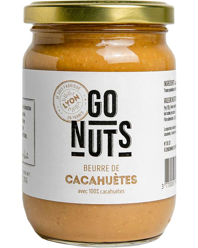 Beurre de Cacahuètes Nature BIO, Go Nuts (270 g)