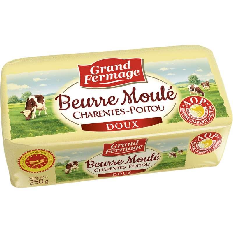 Beurre doux extra fin AOP moulé de Charentes Poitou, Grand Fermage (250 g)