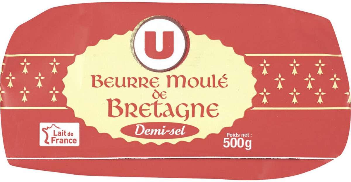 Beurre moulé de Bretagne demi sel, U (500 g)